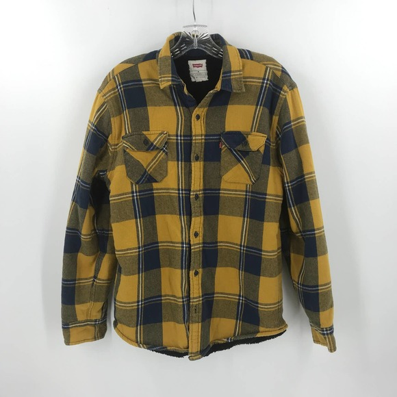 Levi's Plaid Fleece Flannel Jacket Shirt Button Up